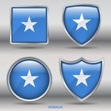 Somalia Flag in 4 shapes collection with clipping path Stock Photography