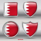 Bahrain Flag in 4 shapes collection with clipping path stock photos