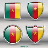 Cameroon Flag in 4 shapes collection with clipping path stock images