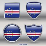 Cape Verde Flag in 4 shapes collection with clipping path stock photo