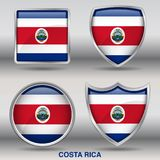 Costa Rica Flag in 4 shapes collection with clipping path royalty free stock photos