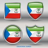 Equatorial Guinea Flag in 4 shapes collection with clipping path royalty free stock photo