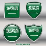 Saudi Arabia Flag in 4 shapes collection with clipping path Royalty Free Stock Photos