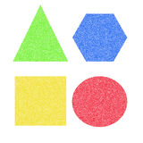 Shapes and colors. Assorted colored square ,triangle, circle and hexagon royalty free stock image