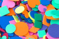 Shapes and Colors. Circles, squares, triangles, heart shapes of various sizes and colors Royalty Free Stock Images