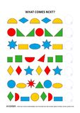 Shapes and colors educational logic game - sequential pattern recognition. Shapes and colors themed educational logic game training sequential pattern Stock Photography