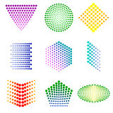 Shapes from dots. Shapes from many colorful dots Stock Photography