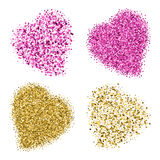 Shapes of four different hearts from golden and pink glitter Royalty Free Stock Photos