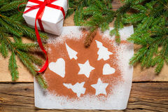 Shapes of gingerbread cookies Royalty Free Stock Photo