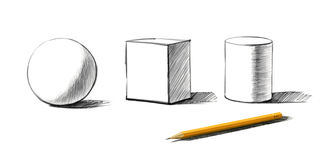 Shapes and graphite pencil. Basic shapes and graphite pencil isolated stock illustration
