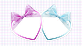 Shapes of hearts with pink and blue ribbon Royalty Free Stock Photography