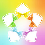 Shapes of hearts in various colors. Whit ribbon bow Stock Image