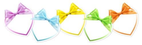 Shapes of hearts in various colors whit ribbon bow isolated Royalty Free Stock Image