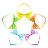 Shapes of hearts in various colors whit ribbon bow isolated. On white Royalty Free Stock Images