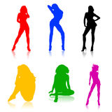Shapes of hot girls, colored. Colored shapes of women on white Stock Photos
