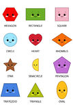 Shapes With Kawaii Faces Stock Photo