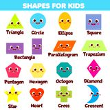 Shapes for kids. Collection of cartoon geometric shapes and forms for children and toddlers. Educational infographics. Triangle, circle, square and other basic vector illustration