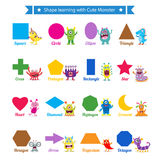 Shapes learning with cute monster. This is shapes poster design. Vector file Royalty Free Stock Photo