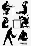 Shapes of Men under stress with laptop Royalty Free Stock Photos