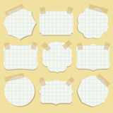 Shapes of note paper with tape. Vector illustration Royalty Free Stock Image