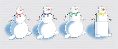 Shapes of snowmen. Different shapes and styles of snowmen Royalty Free Stock Photography