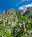 Shapes of stone figures in Valley of Ghosts in Crimea Royalty Free Stock Photography