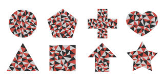 Shapes of triangles. Mosaic geometric shapes of colored triangles, red, gray and Lightstone dark gray Royalty Free Stock Photo