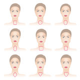 Shapes of woman face with lines. Set of woman face shapes on abstract background Royalty Free Stock Photos