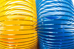 Shapes yellow and blue. With sinusoidal waves Royalty Free Stock Image