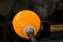 Shaping A Melted Glass Bubble Stock Images