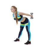 Shaping. Nice girl doing exercise with dumbbells Stock Image