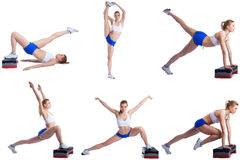 Shaping. Photo set of blonde exercising on stepper Stock Photography