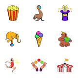 Shapito circus icons set, cartoon style Royalty Free Stock Images