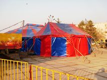 Shapito circus. Circus tent arrived in the city. Preparing for a performance in the square Stock Photos