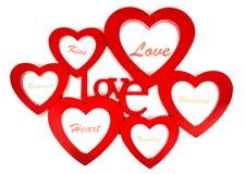Shappes de coeur avec amour de label Image stock