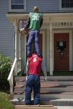 Shaq and LeBron James royalty free stock image