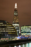 The Shard building illuminated, City Hall and Thames in London Royalty Free Stock Image