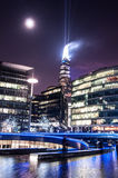 Shard building in London - light show in New Year's Eve 2015 Royalty Free Stock Photography