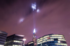 Shard building in London - light show in New Year's Eve 2015 Royalty Free Stock Images