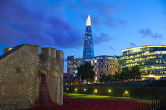 Shard of glass and office buildings in twilight. London Royalty Free Stock Photos