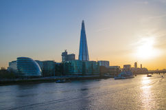 Shard of glass in sunset. City of London, south bank of river Thames Stock Image