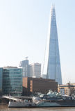 The Shard and HMS Belfast retro filter applied Stock Images