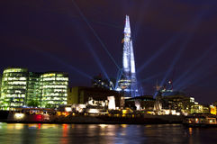 Shard Laser Light Show in London. To commemorate the opening of The Shard (western Europe's tallest building), a laser light show was held on 4th July 2012 royalty free stock photos