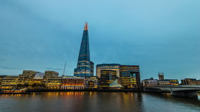 The Shard And London Bridge. 4k Ultra Time-Lapse Of The Shard And London Bridge At Dusk stock video footage