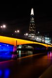 The Shard and London Bridge at Night Stock Image