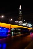 The Shard and London Bridge at Night. London Cityscape: The Shard and London Bridge at Night Stock Image
