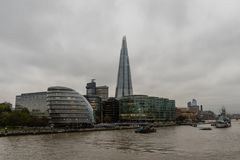 The Shard, London City Hall, and museum-ship HMS Belfast viewed from Thames in late October. London, England royalty free stock image