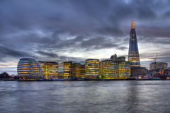 The Shard in London. The Shard, the City Hall and other office buildings on the Thames in London, UK stock image
