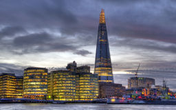 The Shard in London. The Shard, the City Hall and other office buildings on the Thames in London, UK stock photo