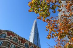 The Shard, London. Londons Shard of Glass, in Autumn. The Shard is the tallest building in London and contains offices, restaurants and bars, a hotel and a Stock Photo
